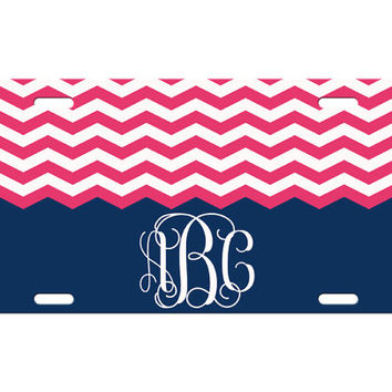 Custom Personalized License Plate Car Tag Preppy Chevron Vine Monogram Sorority 16th Birthday Girls Gift Aluminum Front Car Plate LP-1010