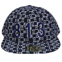 TAMPA 813 NAVY WHITE FLAT BILL FITTED CAP HAT X- LARGE