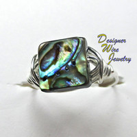 DWJ0177 Fiery Ocean Abalone Silver Wire Wrapped Ring All Sizes