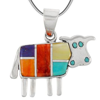 "Cow in Turquoise & Gemstone Pendant Necklace in 925 Sterling Silver (18"" Length)"