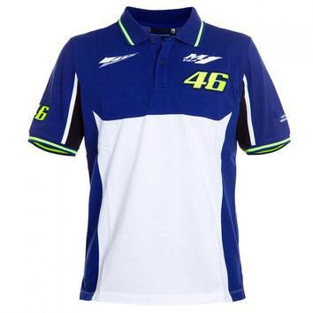 Free shipping 2016 MotoGP Valentino Rossi VR46 Dual Polo The Doctor T-shirt Blue White