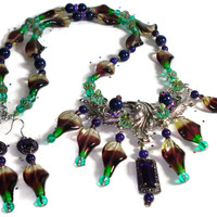 Czech Glass with Swarovski Crystal Beaded Iris & Leaves Necklace and Earrings