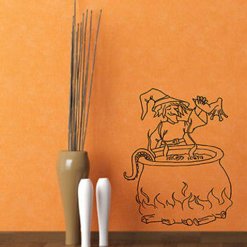Wall Mural Vinyl Sticker Decal   wicked witch of  cauldron potion DA1368
