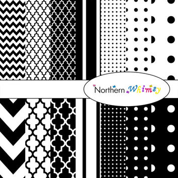Digital Scrapbooking Paper Background Set – Classic Black & White , stripe , chevron , polka dot , and quatrefoil patterns INSTANT DOWNLOAD