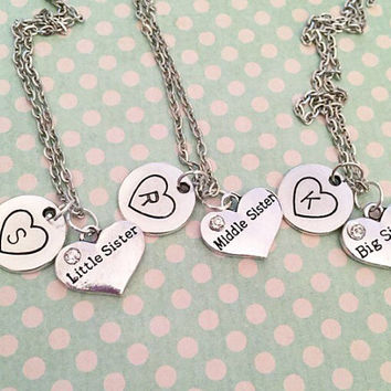Sisters Necklaces With Initials - Big Sister Little Sister Middle Sister Jewelry - Sister Jewelry - Personalized Jewelry - Girlfriends Jewel