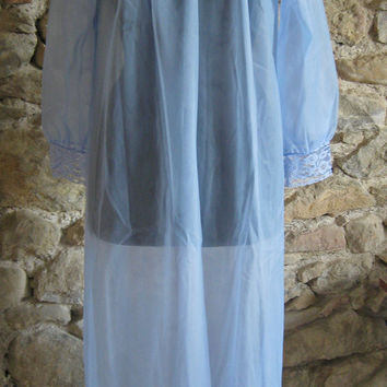 French blue nylon long nightie and robe with tags