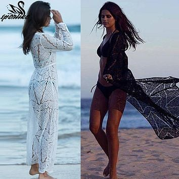 6a1efcf02 Long Crochet Beach Cover up Robe de Plage Swimsuit Cover up Saida de Praia  longa Women