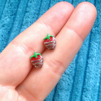 Strawberry with chocolate earrings - handmade tiny enamel stud / post earrings