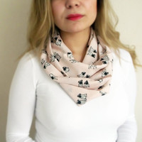 Dog Printed Infinity Scarf Peach Chiffon Chunky Circle Salmon Loop Infinity Scarf Bridesmaid Gift