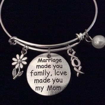 Mother In Law Expandable Charm Bracelet Silver Adjustable Bangle Gift Marriage Made you Family Love Made you My Mom