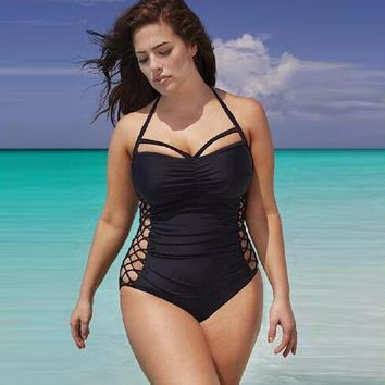 Plus Size XXXL bandage swimwear women Push Up One Piece Swimsuit Black Sexy Hollow trikini Bath Suit Summer Beachwear Body Suit