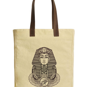Winged Ankh Pharaoh Beige Print Canvas Tote Bags Leather Handles WAS_30