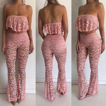 CREYIH3 Sexy Summer Strapless Layered Lace Transparent Belly Hollow Long Pants Two Piece