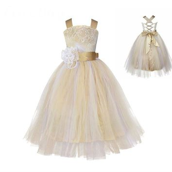 Vintage Lace Rustic Champagne Spaghetti Straps Fluffy Ball Gown Flower Girl Dresses for Weddings Evening Party