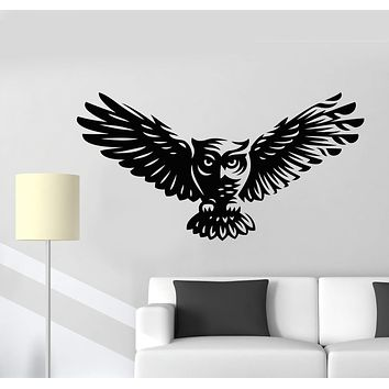 Vinyl Wall Decal Abstract Cartoon Owl Bird Feathers Wings Stickers (2300ig)