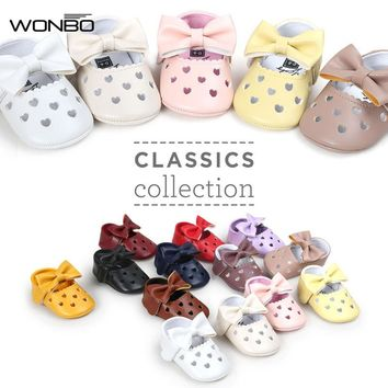 Baby Shoes Girls Princess Sweet Mary Jane Big Bow Hollow Flat Ballet Dress Party Shoe Crib Bebe Soft Soled PU Leather Footwear