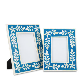 Bone Inlay Frame - Blue