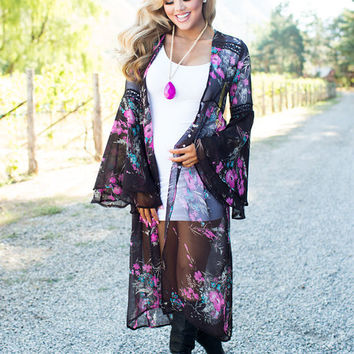 The Most Extravagant Floral Long Sheer Kimono