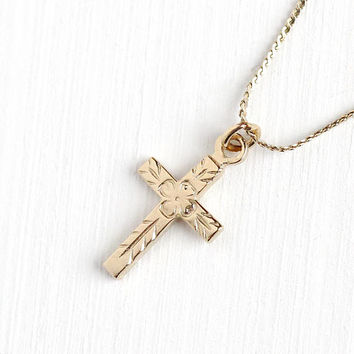 Vintage 14k Rosy Yellow Gold Filled Flower Cross Necklace - Vintage Retro Mid Century Crucifix Religious Pendant Etched Floral Leaf Jewelry