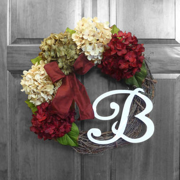 Harvest Apples Fall hydrangea wreath, Door wreath, Monogram Wreath, Autumn Fall wreath, Monogram wreath, Front door wreaths - Etsy Wreaths