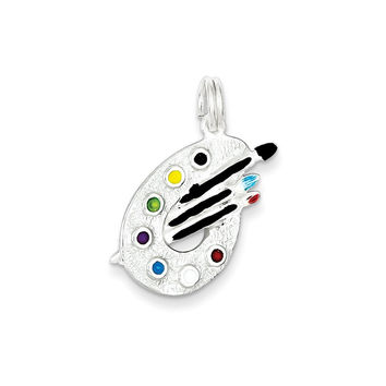 925 Sterling Silver Multiple Colored Enamel Textured Artist Palette Charm Pendant - 21mm