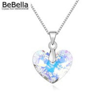 BeBella new original SWAROVSKI elements crystal love heart pendant necklace thin chain necklace for 2016 women Mother's Day gift