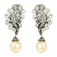 Pearl and Crystal Cluster Drop Earring | BEN-AMUN