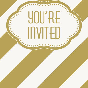 golden birthday invitations Case of 4