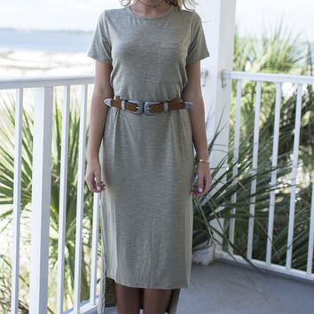 Make Way Casual Light Olive Dress