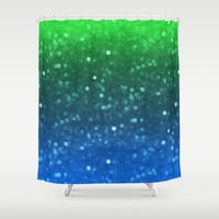 Blue And Green Glimmer Shower Curtain by KCavender Designs