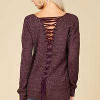 All Laced Up Sweater (Eggplant)