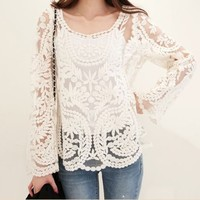 womens embroidery floral lace crochet blouse for summer
