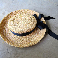 Vintage Brim Straw Hat Gardener Farm Straw Hat Light Weight Woven Boho Summer Hat Black Ribbon Natural Straw Mexican Hat Womens XS Small