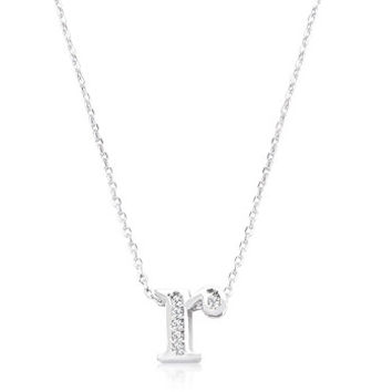 Pave Initial R Pendant Necklace