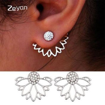 DCCKFV3 Trendy Jewelry Gold Silver Plated Hollow Out Lotus Flower Crystal Stud Earrings  Jacket Piercing Earrings For Women zyeh003