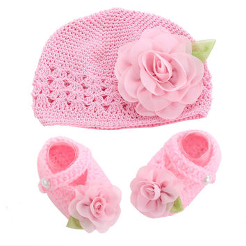 Flower Baby Shoes Girls Hat Crochet Photography Props Set,Handmade Boutique Toddler Shoes,Crib Baby Sapato Infantil Menina Shoes
