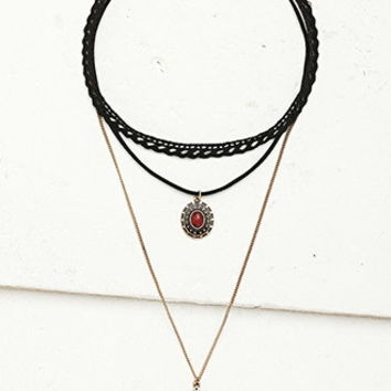 Faux Suede Choker and Necklace Set