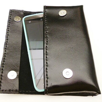 Large Black leather android phone case