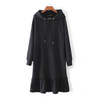 Black Long Sleeve Ruffle Hooded Sweater Dress