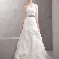 Vera Wang Organza Fit And Flare Gown With Bias Flange Skirt Style Vw351011 Wedding Dress 13% off retail
