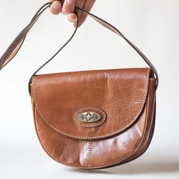 Tan Leather Small Cross Body Bag - Vintage Women's Bag Genuine Leather - Shoulder Bag Sligtly Used - Small Tan Bag Ornament Front