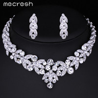 Mecresh Luxurious Crystal Bridal Jewelry Sets Silver Color Necklace Earrings Sets Wedding Jewelry African Jewelry Sets TL206