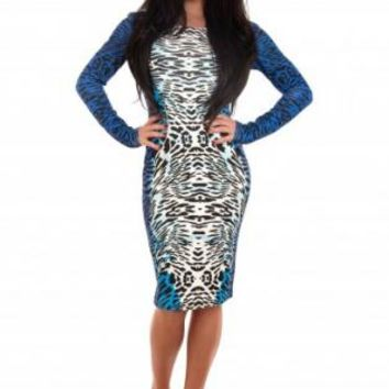 Blue Animal Print Long Sleeve Midi Dress