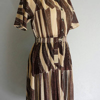 1950s Coffee Cafe dress | vintage 50s dress | vintage brown dress