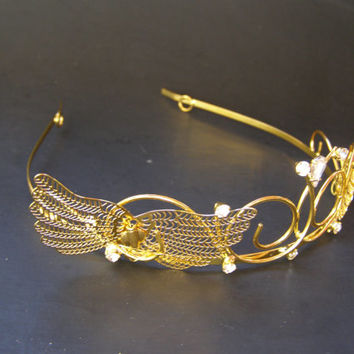 Queen Princess AURORA, Sleeping Beauty, Maleficent, Forest Fairy, Golden Wings Metal Bling Royal Crown, Tiara, Adult, Child