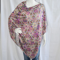 Abstract Design Poncho/ Nursing Cover/ Lightweight Shawl/ Off the Shoulder, One Shoulder Boho Top/ Mint, Magenta, Tan Oversized poncho