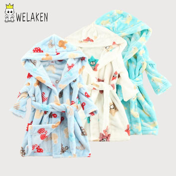 weLaken Hot Sale 2017 Kids Bathrobe Cartoon Pattern Boys Pajama Sets Home Clothes Girls Sleepwear Soft Children Flannel Robe