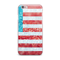"""Beth Engel """"Red White and Glitter"""" Flag iPhone Case"""
