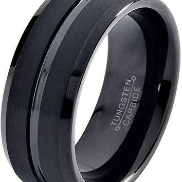 Men's Black Tungsten Wedding Ring Polished Brushed Beveled Edge With Grooved Center - 10mm
