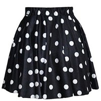 Fanala Korean Women's Polka Dot Short Dress Stretch High Waist Skirt Mini Pleated Skirt